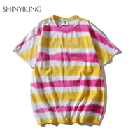Shinybling Japanese Style Hip Hop Tshirt Women Men Unisex Plus Size Summer Tops Fashion Striped Tie