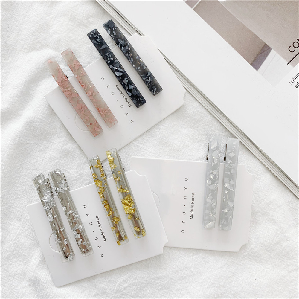 1Pair/2PCS Chic Korea Style Geometric Acrylic Hair Clips Shiny Tin Foil Sequins Hairpins Women Girls Barrettes Hair Accessories