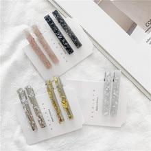 1Pair/2PCS Chic Korea Style Geometric Acrylic Hair Clips Shiny Tin Foil Sequins Hairpins Women Girls Barrettes Accessories