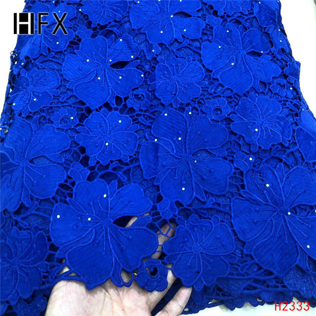 HFX Blue african cord lace fabric,wholesales 2019 nigerian laces guipure lace fabric Embroidery For Wedding /party dress F2333