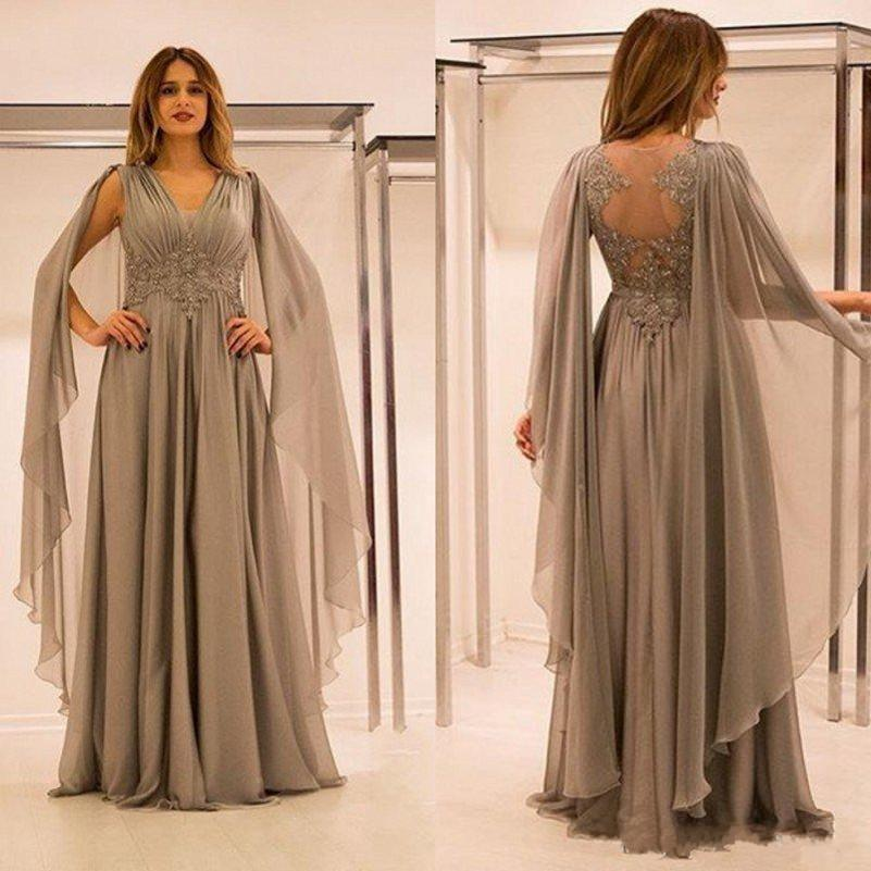 Sexy Dubai Mother Of The Bride Dresses V Neck Floor Length Chiffon Sheer Back Arabic Mom Evening Gowns With Appliques 2019