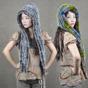 Wholesale handmade women knitted hat real rex rabbit fur hats with scarf for women natural rabbit fur winter hat ears cap gorras