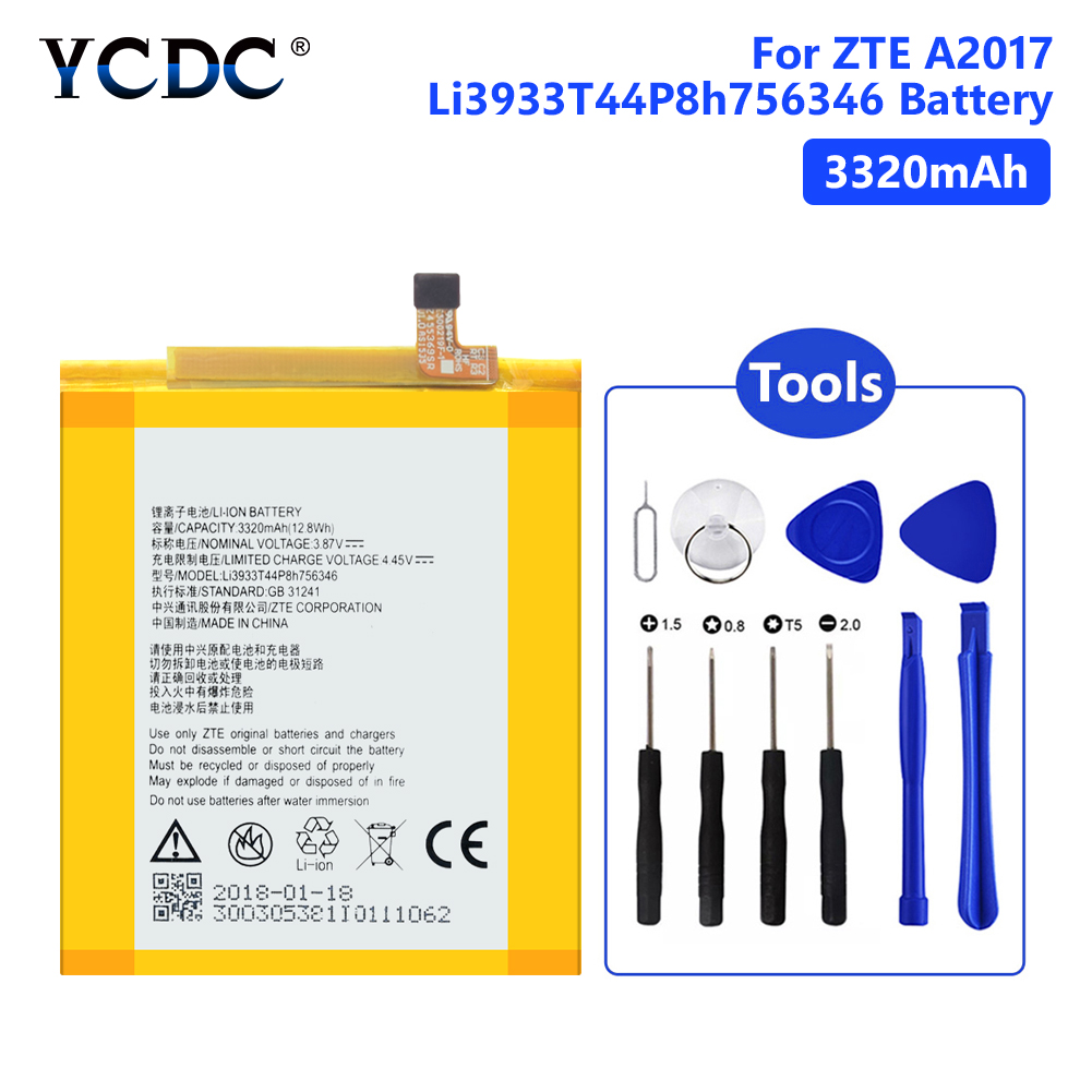 Lithium Polymer Li3933T44P8h756346 Battery For ZTE A2017 <font><b>A2018</b></font> Axon 7 Axon 7S 3320mAh Mobile Phone Batteries +Tools image