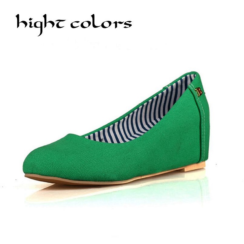 New Canvas Wedges Shoes Women's Height lncreasing Flat  Shoes For Women Round Toe Slip On Ballet Loafer Work Shoes Zapatos Mujer sorbern khkai flat shoes women round toe custom plus size 34 46 zapatos mujer flat heels ballet flats slip on shoes for women