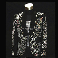 Plus size Custom made black Crystal men's ds dj male singer dancer performance stones outerwear costume rhinestone jacket outfit