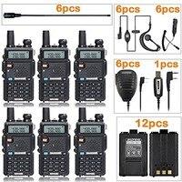 Новый 6 шт. Baofeng UV-5R + 12 шт. батарея + 6 шт. антенна NAGOYA + 6 шт. динамик + 6 шт. автомобильное зарядное устройство + 6 шт. микрофон + 1 шт. pro Кабель