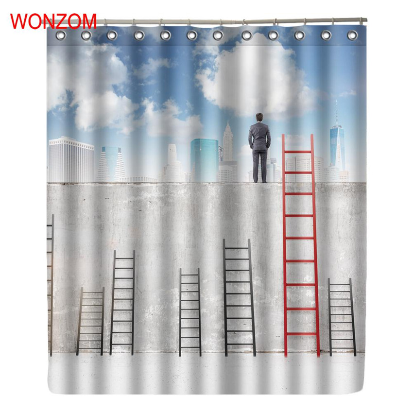 WONZOM Polyester Fabric 3D Scenic Shower Curtains with 12 Hooks For Bathroom Decor Modern Road Bath Waterproof Curtain Gift