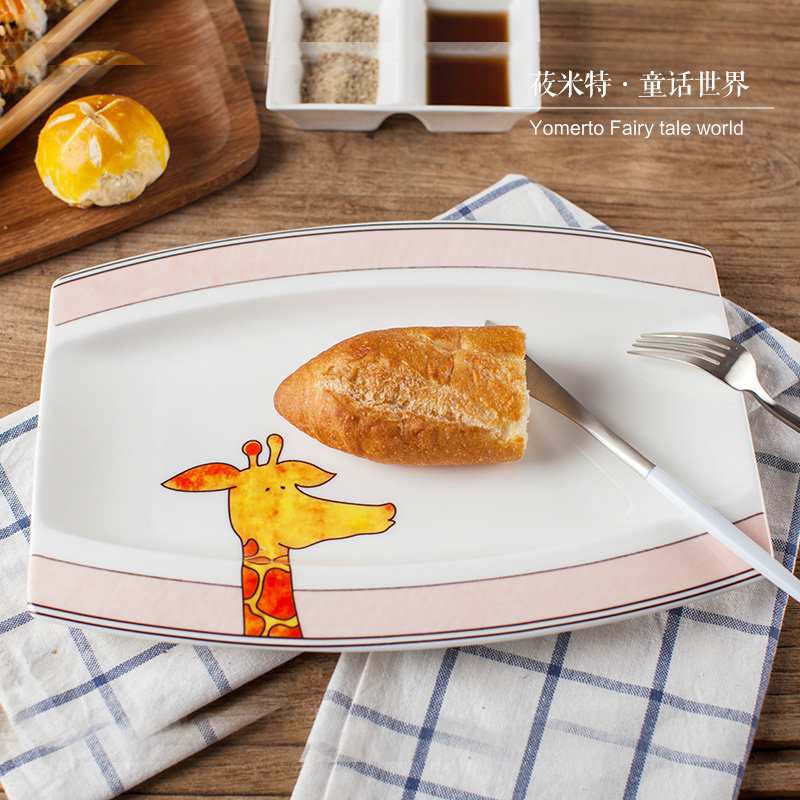 Cartoon 12 inch big bone fish on the plate rectangular dish tableware Japanese ceramics tray of microwave oven dish