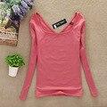 2017 Primavera NEW Fashion Womens UV Pescoço Veludo Camisetas Casual Boa Qualidade da Fêmea Longo-Sleeved Camisas de Roupa Interior Quente SY022