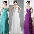 Pronto para enviar Sexy branco Prom vestidos 2015 frisada Chiffon roxo especial ocasião vestido de festa vestido