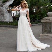 캡 슬리브 2019 스쿠프 레이스 아플리케 라인 간단한 웨딩 드레스 tulle boho bridal gown vestido de noiva 긴 기차 trouwkleed