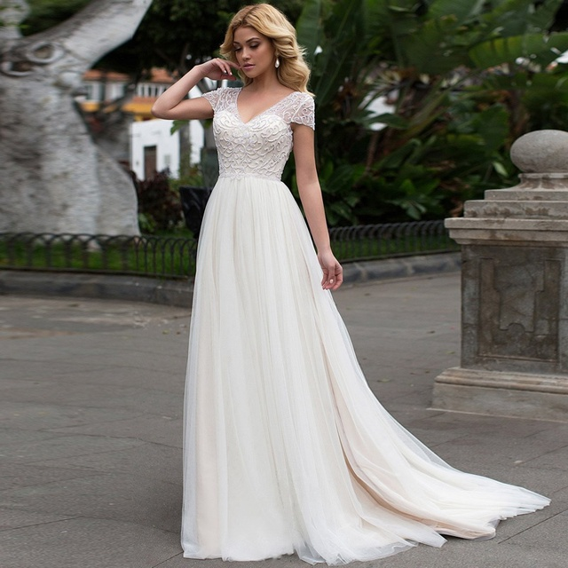 Cap Sleeves 2019 Scoop Lace Applique A Line Simple Wedding Dresses Tulle Boho Bridal Gown vestido de noiva Long Train trouwkleed
