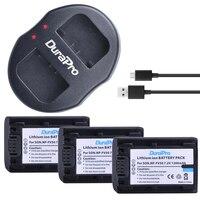 3Pcs DuraPro NP FV50 FV50 Camera Battery Dual USB Charger For SONY CX390 290E PJ510 820E
