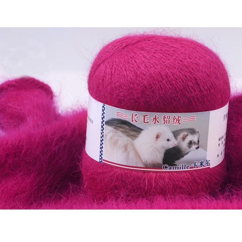 100g / 2 बॉल अंगोला ऊन मिंक यार्न किंटिंग के लिए लक्जरी फर बालों कश्मीरी यार्न मोहायर ऊन मेरीफेटली वीव लाईन एक तिपहिया