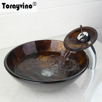 Torayvino Bathroom Faucet With Art Tempered Glass Sink And Pop Up Drain Round Bathroom Sink And
