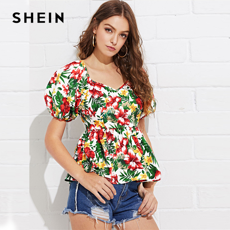b73fb10611 SHEIN Puff Sleeve Tropical Peplum Top Multicolor Floral Print Off Shoulder  Blouse Women Summer Pleated Slim Fit Peplum Blouses-in Blouses & Shirts  from ...