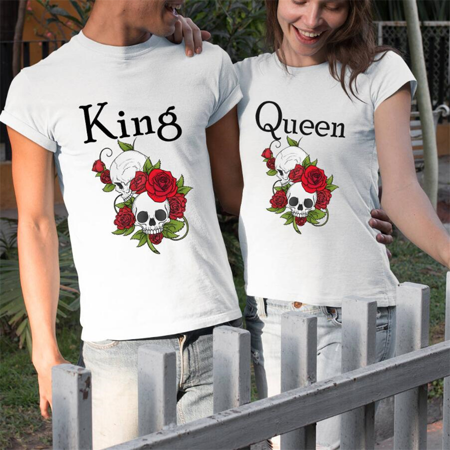 King Queen Shirts Lovers Summer Outfit Hipster Chic Couples Tshirts Rose Skull Print T Shirt Men Women White T-Shirt Female