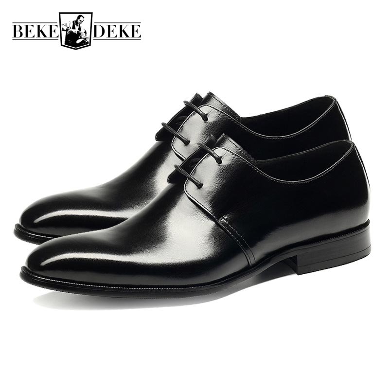 Hot Sale Mens Genuine Leather Cow Lace Up Male Formal Shoes Dress Shoes Pointed Toe Footwear Multi Color Plus Size 37-44 Yellow classic real cow leather formal shoes men plus size business flat pointe dress shoes male lace up top quality leather footwear