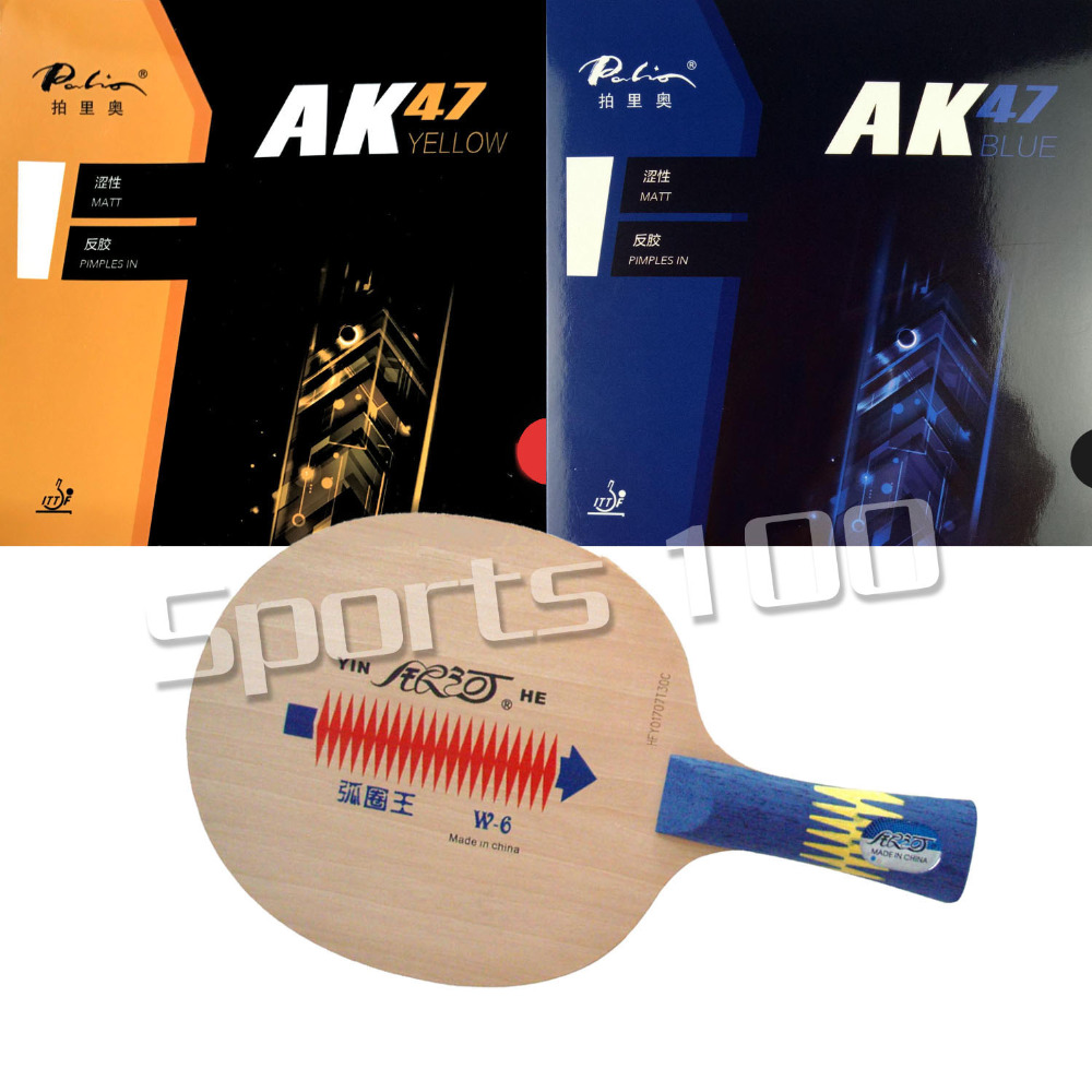 Pro Combo Racket YINHE W6 Table Tennis Blade with Palio AK47 YELLOW and Palio AK47 BLUE Rubber With SpongePro Combo Racket YINHE W6 Table Tennis Blade with Palio AK47 YELLOW and Palio AK47 BLUE Rubber With Sponge