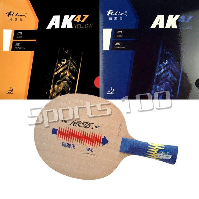 Raqueta Pro Combo YINHE W6, hoja de tenis de mesa con Palio AK47, goma con esponja, color amarillo y azul Palio AK47