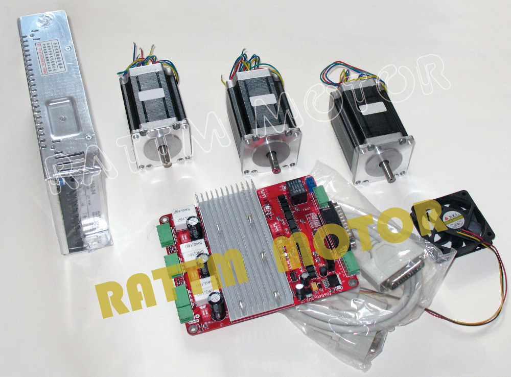 все цены на RUS/ EU Delivery! 3-Axis CNC controller board & Nema23 76mm/3.0A 270 oz-in stepper motor with Power supply from RATTM MOTOR