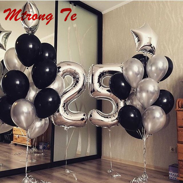 25pcs Lot 40 Silver Number Foil Helium Balloons 18 Star 12 Latex Air Globos Aldut 25th Birthday Party Decoration Supplies