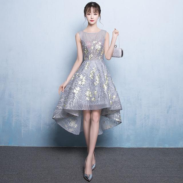 Nyata Gambar Romantis Homecoming Gaun Pendek Depan Panjang Kembali
