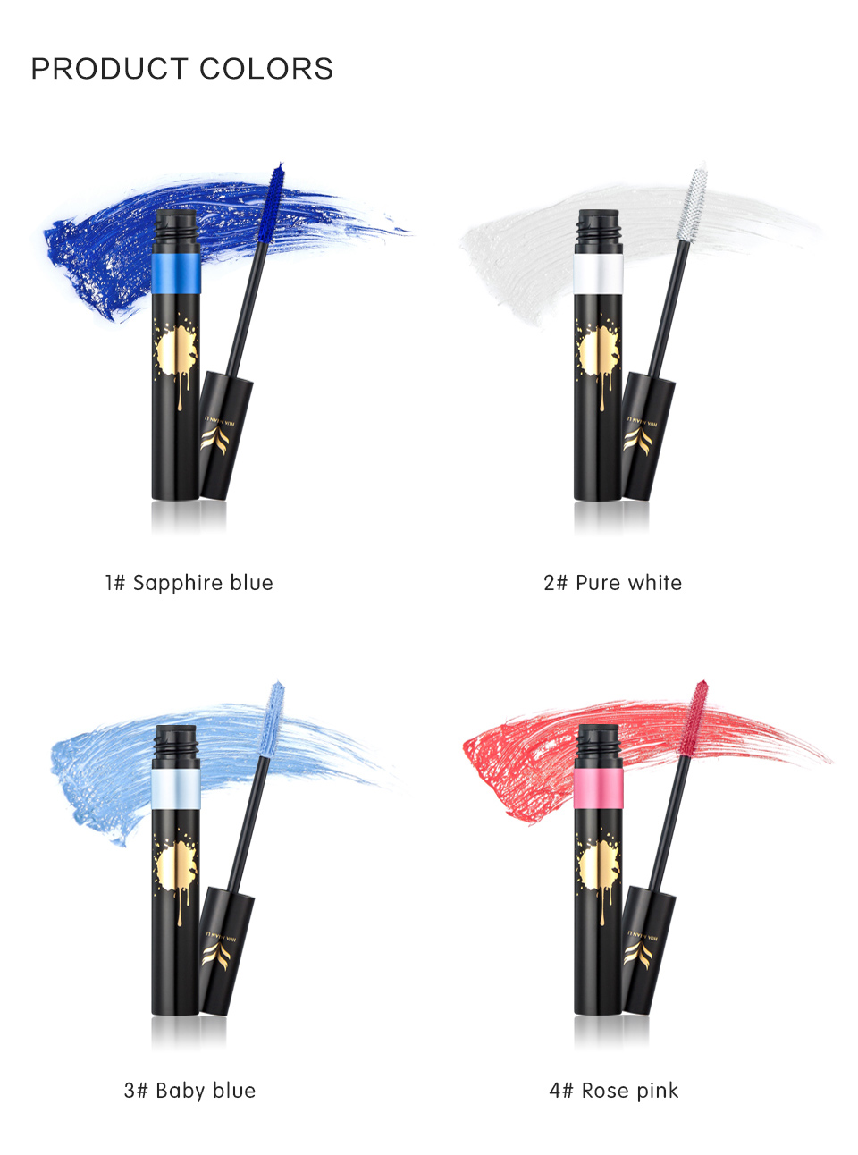 HUAMIANLI Colorful Green Blue Mascara Waterproof Lengthening Curling Eye Lashes Silicone Women Professional Makeup 3D Mascara 15
