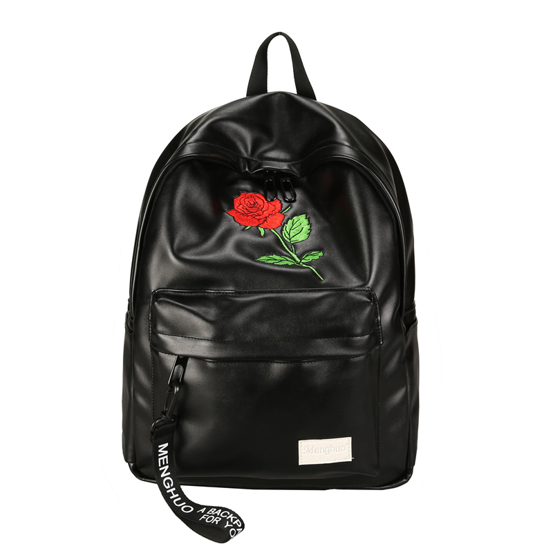Women Backpack Cute Fashion Rose Embroidery Flower Backpacks For Teenagers 2018 High Quality PU Women's Bag Mochilas School Bags mochila women fashion high quality small travel bags lady cute black pu leather backpack with solid bag teenager cute backpack