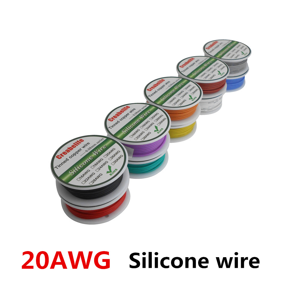 6m 20 AWG Flexible Silicone Wire RC Cable 20AWG OD 1.8mm Line 10 Colors to Select With Spool Tinned Copper Wire Electrical Wire 20awg soft flexible silicone wire black red 100cm 2 pcs