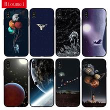 Bioumei astronaut space Starry sky black Soft TPU Case for iphone XR XS Max 6 6S 7 8 Plus 5 Back Cover Case for iphone X 01 стоимость