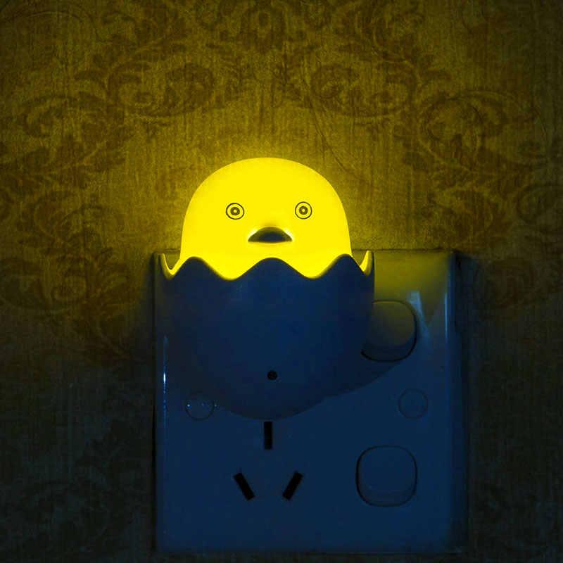 Прекрасный ЕС/США штекер желтый утка СВЕТОДИОДНЫЙ ночник Настенный розеточный светильник Датчик управления детский подарок Спальня Мультфильм Декор лампа