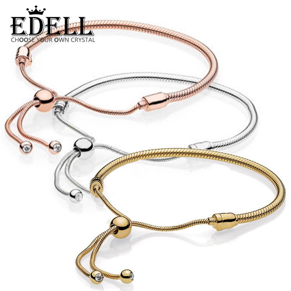 EDELL 100% 925 Sterling Silver New Rose Gold 18K Gold Golden Glitter Instant Slide Bracelet цена 2017