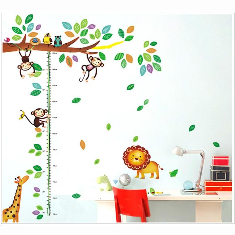 Cartoon Giraffe Monkey Δέντρα ύψος αυτοκόλλητο - Διακόσμηση σπιτιού - Φωτογραφία 2