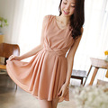 Summer new Sexy V-neck sleeveless chiffon dress,Slim pleated women's casual dress one-piece dress Free shipping S0942