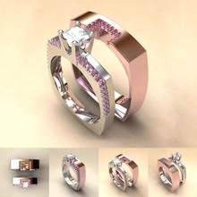 2Pcs Women Rings Fashion Pink Faux Topaz Inlaid Finger Rings Silver Plated Square Stacking Wedding Rings Set Jewelry Gift(China)