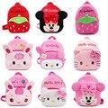 Novo design Das Meninas mochila de pelúcia dos desenhos animados rosa/cor vermelha saco de pelúcia para meninas mochilas mochila