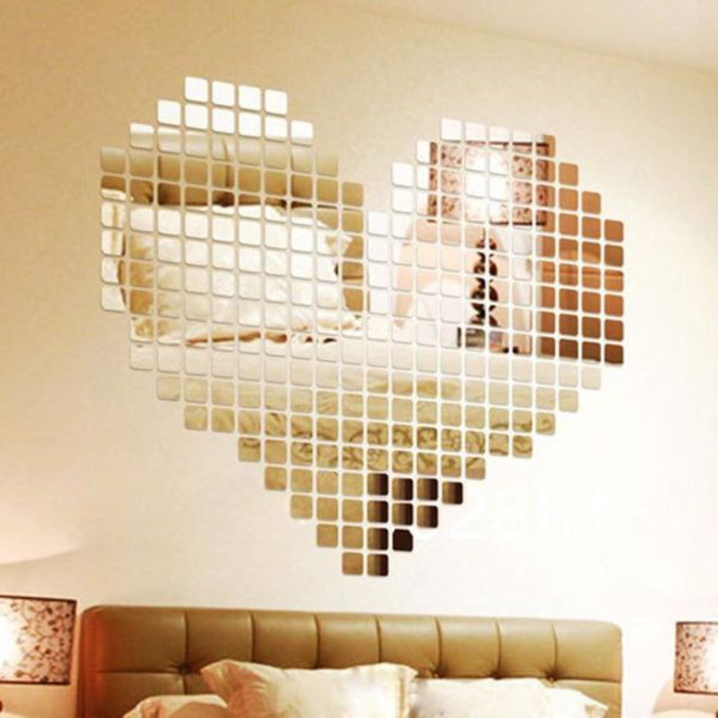 DIY 3D Silver Mosaic Mirror Wall Stickers Home Decoration Bedroom Modern Acrylic Mirrors Decal Decorative Accessories Stickers