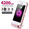 Для iphone 5 5S SE Смартфон 4200 мАч Перезаряжаемые Внешняя Батарея резервного копирования Зарядное Устройство Крышки Случая Обновления Банк Питания для iPhone 5 5S