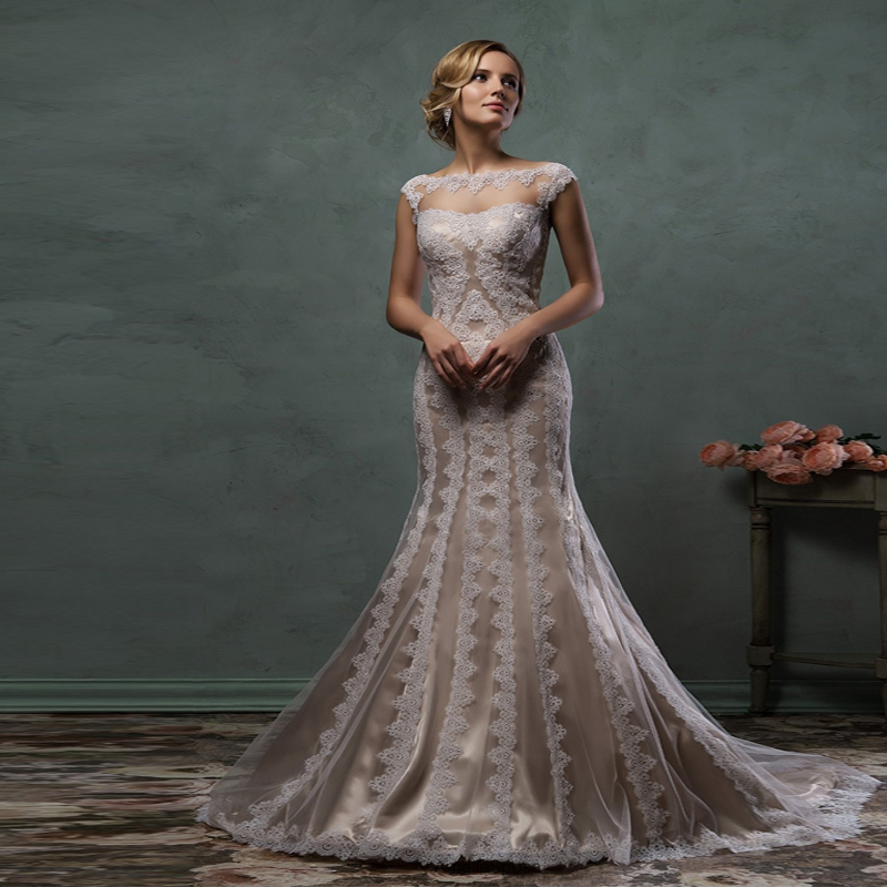 Wedding Gowns In Color: 2017 Elegant Champagne Color Lace Appliques Mermaid