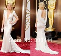The 2014 86th Oscars Academy Awards Kate Hudson Red Carpet Mermaid Backless V Neck Cap Sleeves Satin Celebrity Dresses