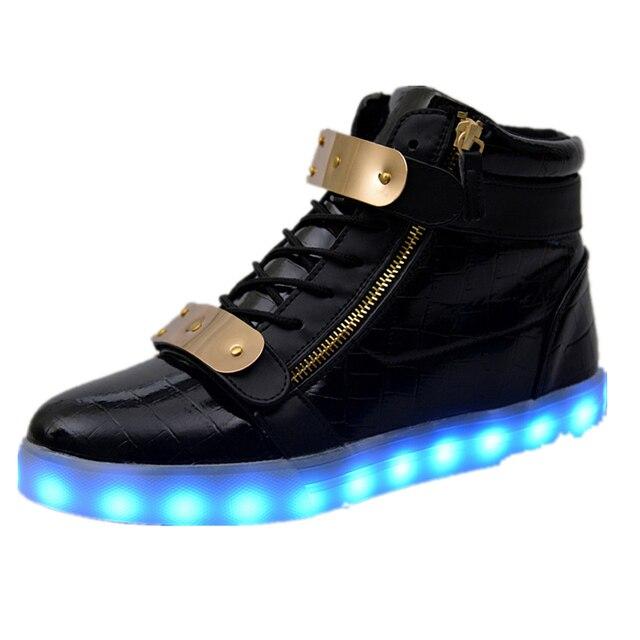 Sapatas dos homens 7 Cores LED Luminoso de Alta top sapatos casuais Corte Sapatos LEVARAM para Adultos recarregar Luzes bota moda neon sólida cesta