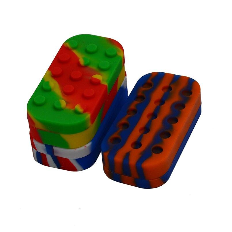 50pcs 6 + 1 34ml Contenitore in silicone o vasetto in silicone per concentrato / olio butano / olio slick - Non stick FDA Lego Dab contenitore per vasetti di cera
