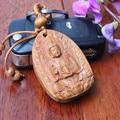 1 unid Avalokitesvara madera Tallada de madera Madera De La Cadena Dominante Del Coche/Bolsa/Monedero Llavero Colgante De Buda De Madera Llavero Accesorio
