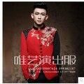Men'e певица гость одежда хозяин китайский туника костюм вечернее сцена костюмы вышитая приталенный костюм платье китайский стиль