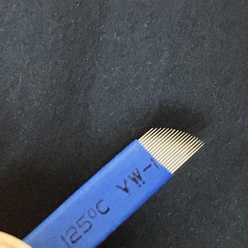 300 piezas 0,20mm azul 18 pines permanente maquillaje ceja tatuaje biselado hoja Microblading agujas para bordado 3D Manual Tatoo pluma