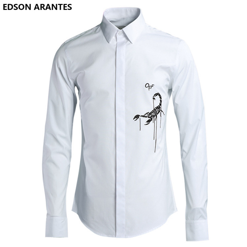 8e35fc31d5f9 EDSON ARANTES Men White Shirt Harujuku Scorpion Embroidery Korean Shirts  Luxury Long Sleeve Fashion Cotton Slim Fit Summer Shirt-in Tuxedo Shirts  from Men s ...
