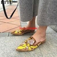 Kendall Jenner Outfit Velet Mia Floral Muły Sandały Buty Multicolor Kwiat Haftowane Projektant Mieszkania Kobiety Buty Pointed Toe