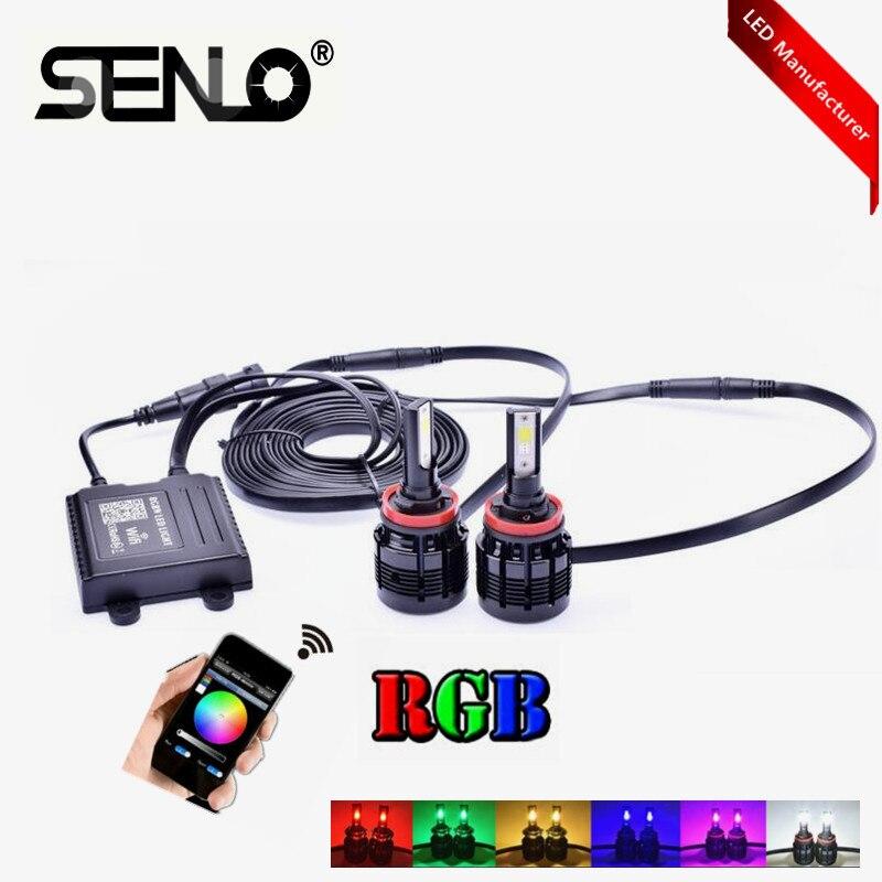Vendita calda Multi colori che cambiano wifi RGB ha condotto la lampada della luce di nebbia lampadina del faro H1 H3 H8 H11 9006 H7 H4 9003 9004 9007 HB3 HB4 5202