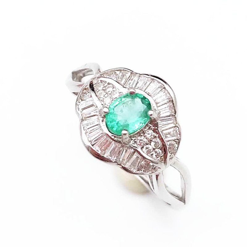100% Natural Emerald Ring In 925 Sterling Silver With Gift Box,elegant Dianna Rings With Natural Emerald Gemstone Ring